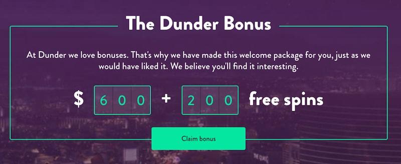 Dunder Canada Bonus 2019
