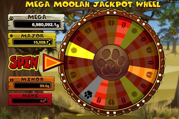 Mega Moolah Jackpot Progressive Wheel