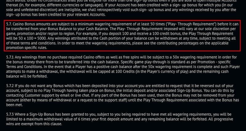 Casino Bonus Terms & Conditions